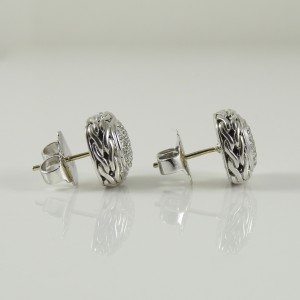 John Hardy 18K White Gold, 925 Sterling Silver .28tcw Diamond Earrings