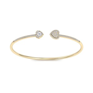 GLAM ® Bangle With Hearts in 18K Gold with 0.56ct White Diamonds