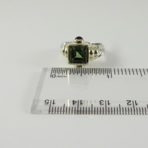 David Yurman Renaissance 14K Yellow Gold Sterling Silver Peridot Iolite Ring Size 6