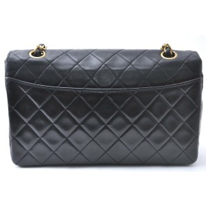 CHANEL Calf Skin Matelasse Double Chain Shoulder Bag