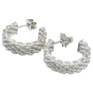 Tiffany&Co. Sterling silVer 925 Somerset Hoop Earrings TNN-948
