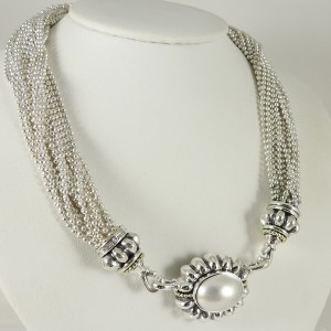 Lagos Torsade Vintage Necklace Sterling Silver & 18K Yellow Gold Multi Row Mabe Cultured Pearl
