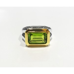 DAVID YURMAN Novella Statement Silver Ring With 18K Gold And Peridot