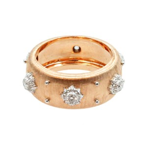 Buccellati 18K Rose Gold & Diamond Band Ring Size 6