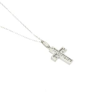 18K white gold Diamond Cross motif Necklace