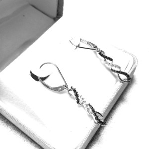 10K White Gold and Black Diamond Earrings