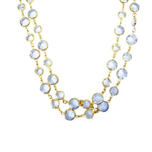 Chanel Sautior Gold Plated Hardware with Blue Crystal Necklace