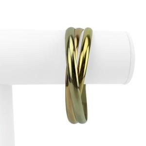 "Cartier 18k Yellow White Rose Gold Trinity Rolling Bangle Bracelet 8"""