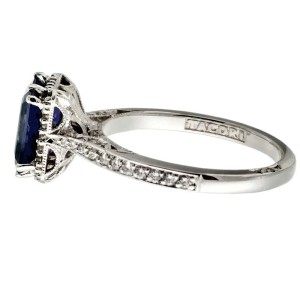 Tacori 18K White Gold Iolite .30ctw Diamond Ring Size 5.75