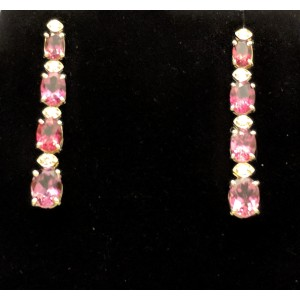 14K Yellow Gold Pink Tourmaline and Diamond Earrings