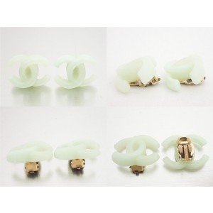 Chanel Silver Gold Tone Hardware and Plastic CC Logo Clip on Earrings