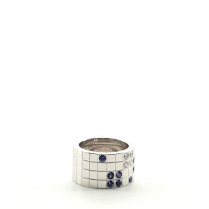 Cartier Lanieres 18k White Gold with Sapphires and Diamond Wide Ring