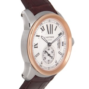Cartier Calibre Stainless Steel & 18K Rose Gold 42mm Mens Watch