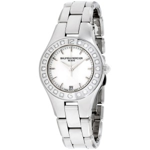 Baume & Mercier Linea M0A10072 Silver Tone Stainless Steel & Mother of Pearl Dial 32mm Womens Watch
