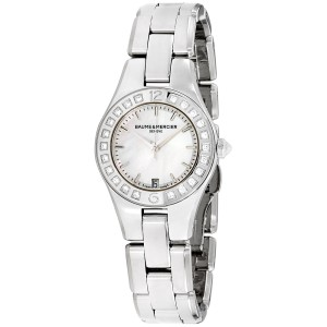 Baume & Mercier Linea M0A10078 Silver Tone Stainless Steel & Mother of Pearl Dial 27mm Womens Watch