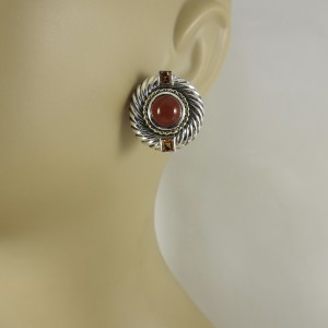 David Yurman 14K Yellow Gold, Sterling Silver Carnelian, Citrine Earrings