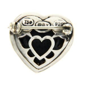 David Yurman 18K Yellow Gold & 925 Sterling Silver Heart Pin Brooch