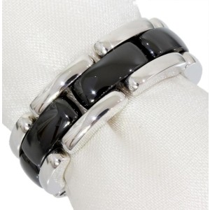 Chanel 18K White Gold & Black Ceramic Ultra Collection Band Size 6.25 Ring