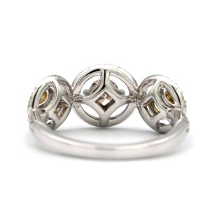 18K White Gold Ring 3 Stone Yellow and Pink Diamond Size 6.25