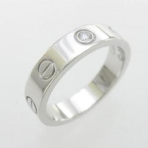 Cartier Mini Love 18K White Gold 1P Diamond Ring Size 4