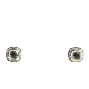 David Yurman Albion Stud Earrings Sterling Silver with Prasiolite and Diamonds 7mm