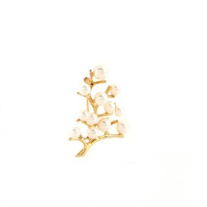 Mikimoto Tree Brooch 18K Yellow Gold and Cultured Pearls