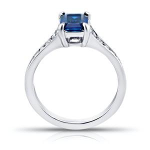 Platinum 1.41ctw. Sapphire 0.79ctw. Diamond Ring Size 7