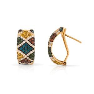 Le Vian Certified Pre-Owned Exotics Vanilla Diamonds, Goldenberry Diamonds, Blueberry Diamonds, Cherryberry Diamonds, and Kiwiberry Green Diamonds Earring set in 14k Honey Gold