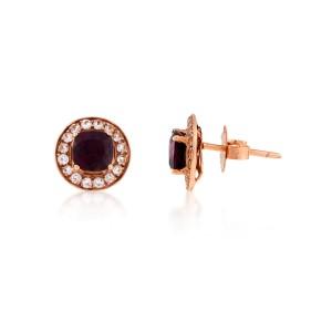 Le Vian Certified Pre-Owned Raspberry Rhodolite and Vanilla Topaz Earrings set in 14k Strawberry Gold
