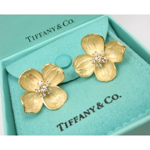 Tiffany & Co. Vintage 18K Yellow Gold Diamond Earrings