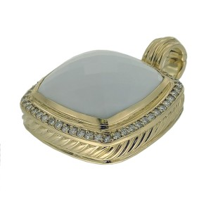 David Yurman 18K Yellow Gold with White Agate and 0.52ctw. Diamond Albion Pendant