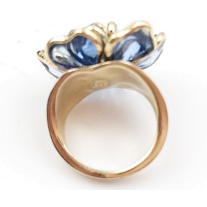 Chanel Gold-Tone Blue Gripoix Glass Ring Size 6