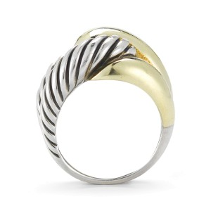 David Yurman The Infinity Sterling Silver and 14K Yellow Gold Ring Size 7.5