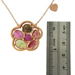 14K Rose Gold 10.8ct Multi Sapphire & Diamonds Flower Necklace