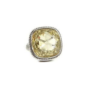 Judith Ripka Sterling Silver Large Canary Crystal Ring