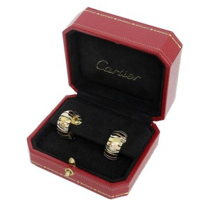 Cartier 18K Yellow  White And Pink Gold Trinity Earrings
