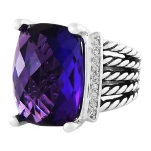 David Yurman Wheaton Ring with Amethyst and Diamonds