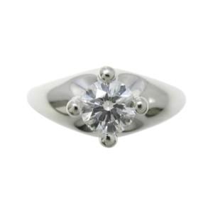 Bulgari 950 Platinum 0.43ct. Diamond Corona Ring Size 4.25