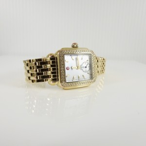 Michele .49tcw Gold Plated Stainless Steel Mother of Pearl Diamond Deco Mid Watch