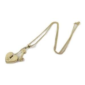 CHANEL gold plated Heart Key Necklace RCB-54