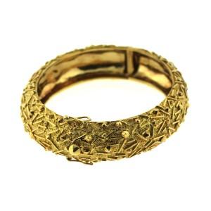18K Yellow Gold Signed Bangle Bracelet