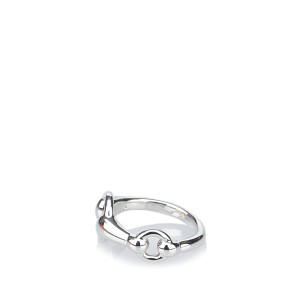 Hermes Silver Tone Hardware Mors de Cheval Ring Size 5.75