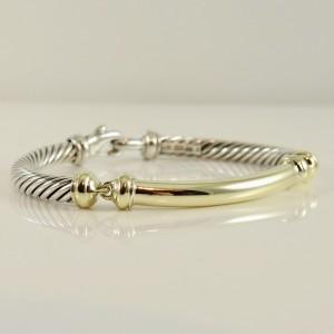 David Yurman Sterling Silver 14K Yellow Gold  5mm Gold Bar Metro Bracelet