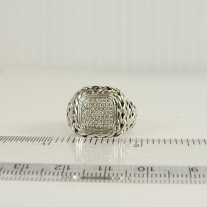 John Hardy Sterling Silver .25tcw Square Pave Diamond Classic Chain Ring
