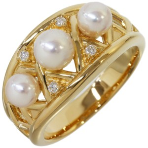 Tasaki 0.04ct Diamond & Pearl Design Ring