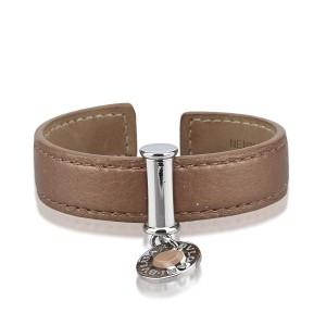 Bulgari Silver Tone Hardware & Leather Cuff Bracelet