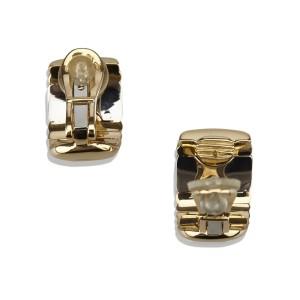 Bulgari Parentesi 18K Yellow Gold and Stainless Steel Earrings