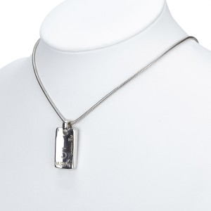 Chanel Silver Tone Hardware Rectangle Pendant Necklace