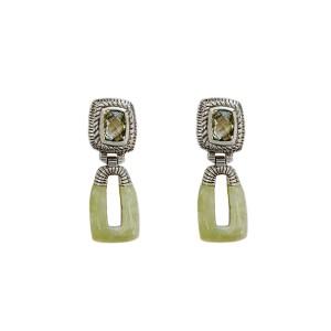 Judith Ripka Sterling Silver Earrings with Prasiolite and Jade