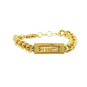 "Buddha Mama 20K Yellow Gold ""Peace"" Sanskrit Chain Bracelet"